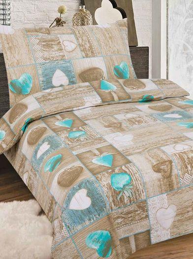 LOVE barna pamut ágynemű -140x200cm