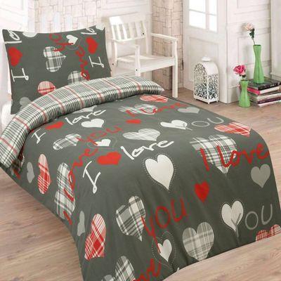 I LOVE YOU szürke pamut ágynemű - 140x200cm